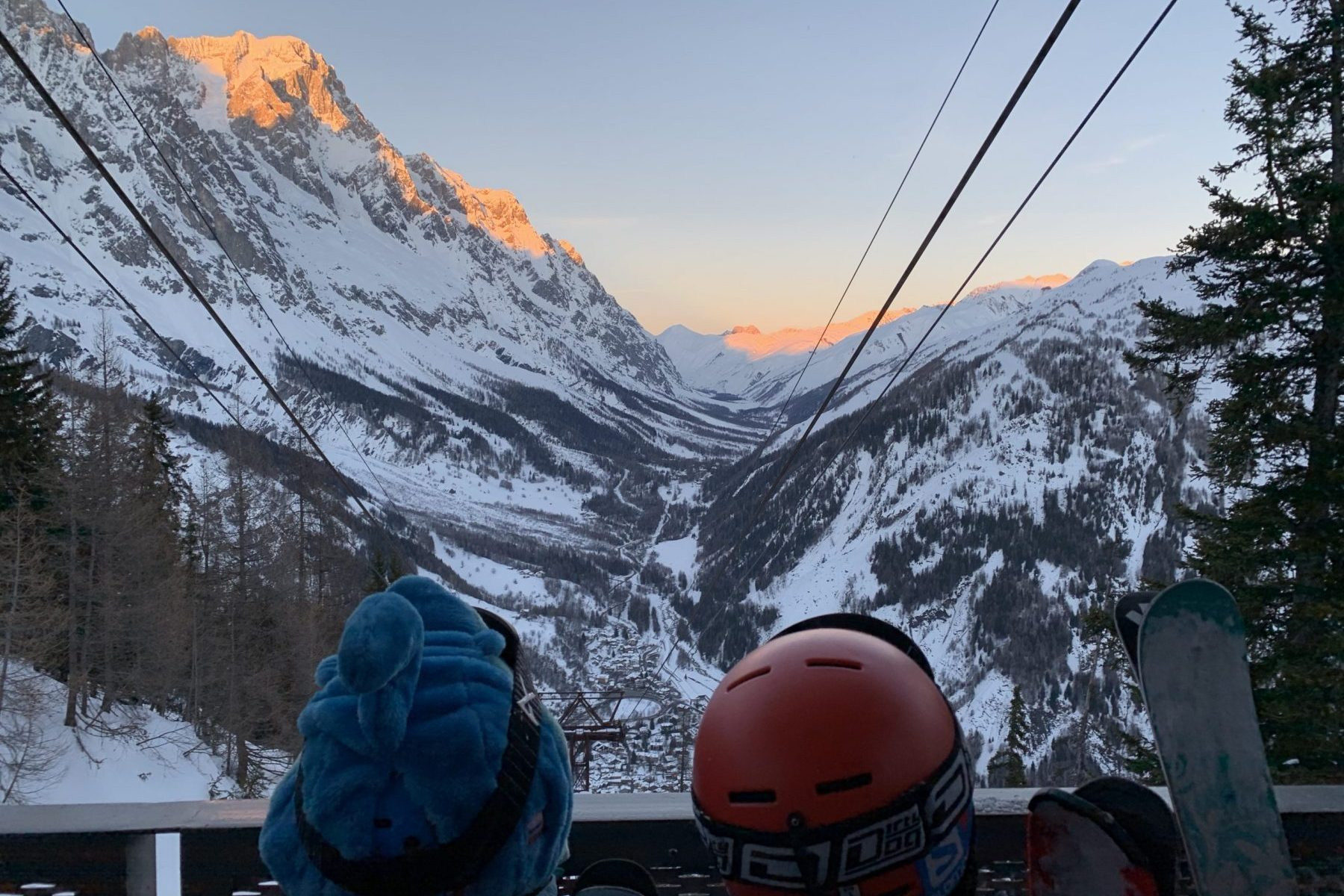 The boys waiting for the funicular of Val Veny to take us back to Courmayeur. Photo: The-Ski-Guru.