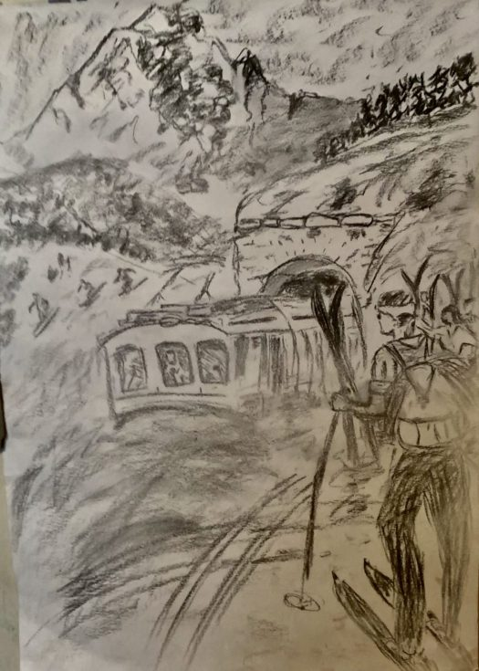 Charcoal, waiting for the train. The Art of the Mountains.