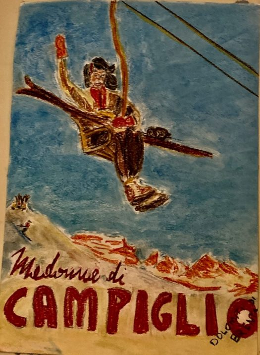 Soft Pastels- A girl riding a lift in Madonna di Campiglio. The Art of the Mountains.