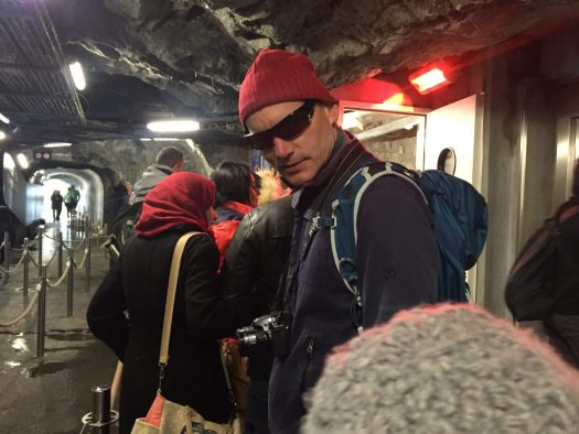 My husband waiting to get up the elevator inside Aiguille du Midi. Aiguille du Midi vs Punta Helbronner – which one you should do?