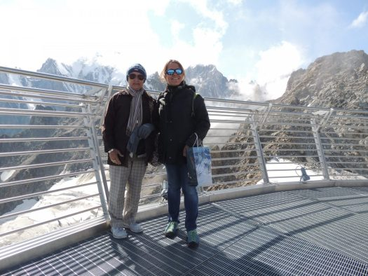 With my mum on top of the terrace at Punta Helbronner. Aiguille du Midi vs Punta Helbronner – which one you should do?