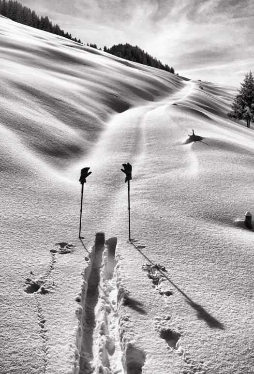 Rando trace and ski poles. Copyright: Courchevel Tourisme. Courchevel's plans to reopen in the summer season.