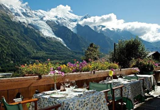 A table with a view at the Auberge du Bois Prin. Must-Read Guide to Chamonix.