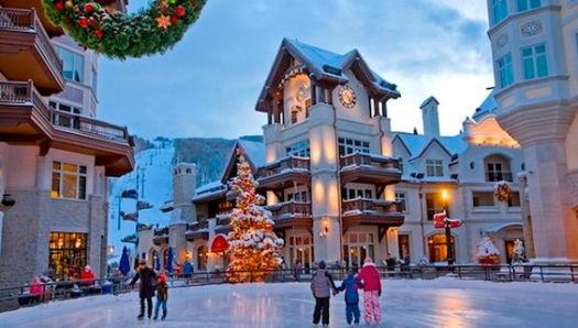 Ice rink in Vail. Photo: Pinterest. Enjoy Vail. The Must-Read Guide to Vail.