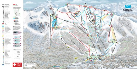 Ski map Catedral Alta Patagonia. Cerro Catedral has opened: skiing for locals with masks and record snow levels.