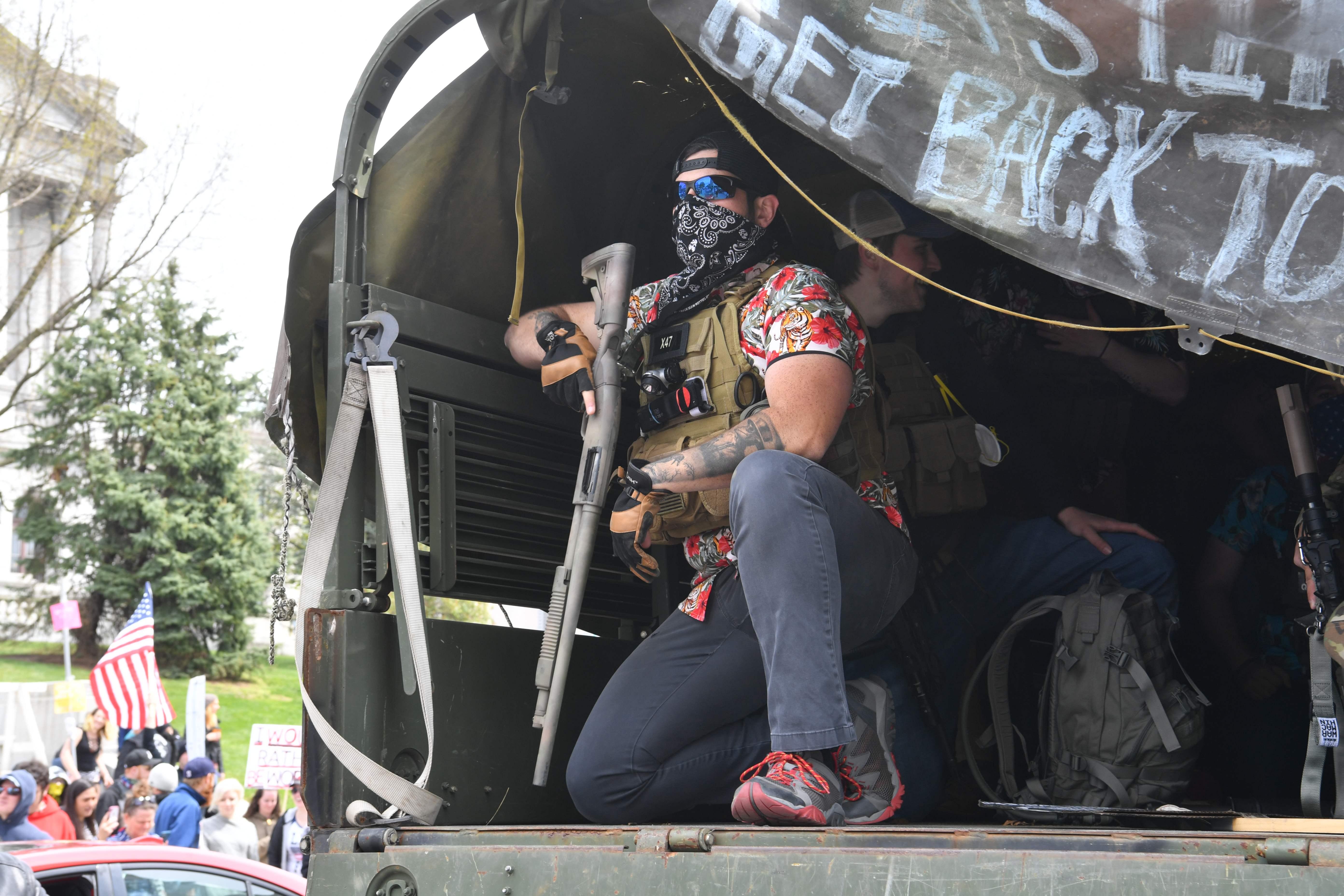 Anti Lockdown Protestors With Guns