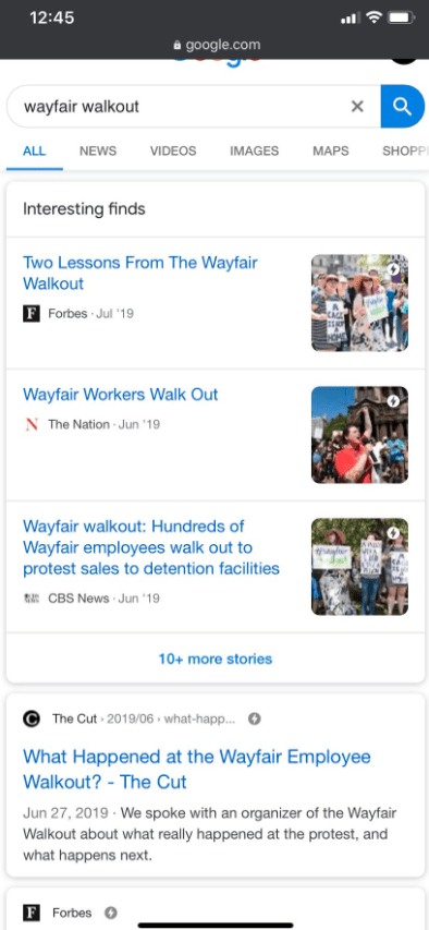 Wayfair's walkout occurred in 2019