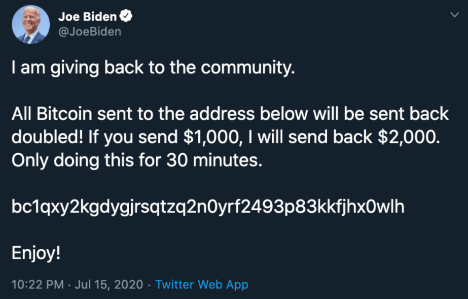 Joe Biden's Twitter account was one of several that tweeted a request for Bitcoin