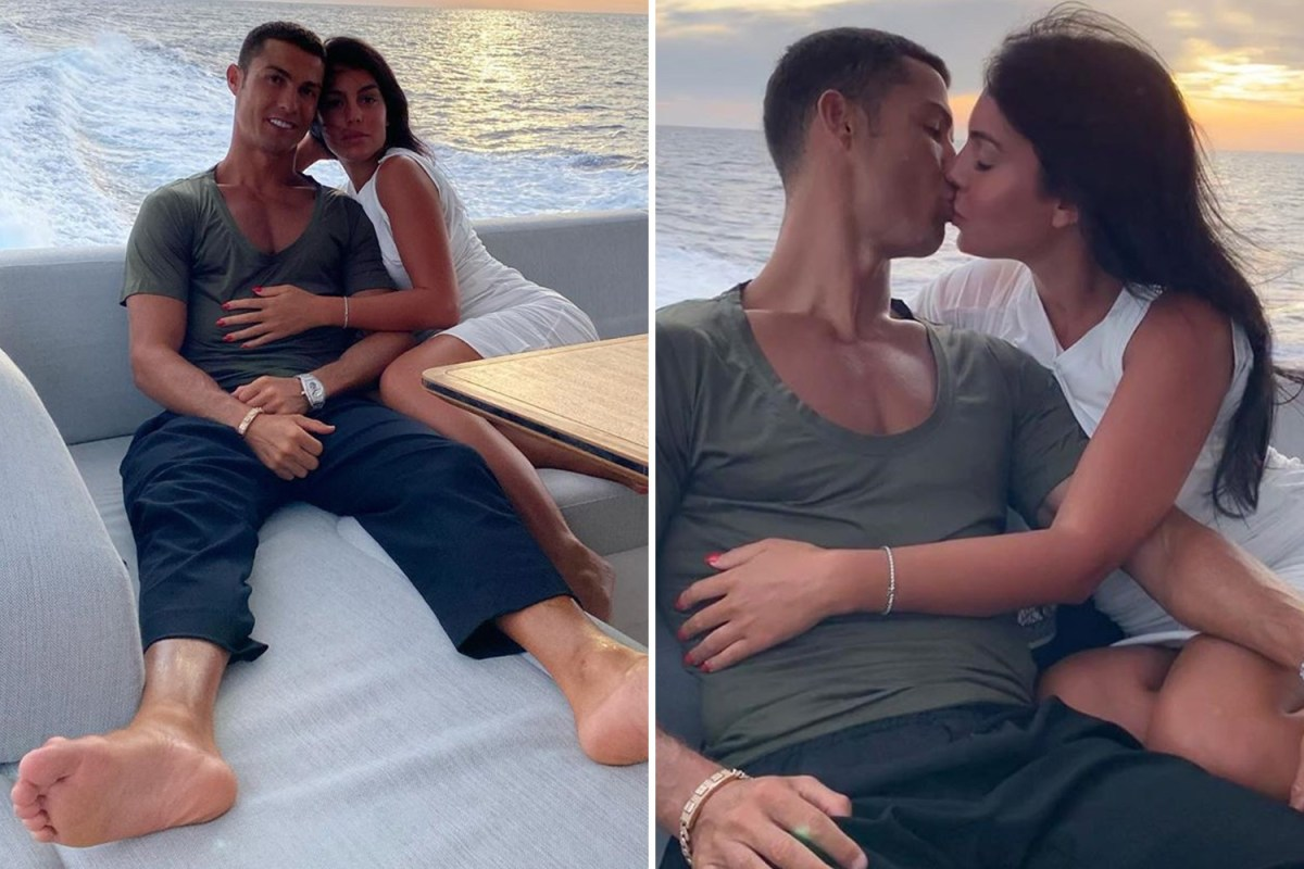 Cristiano Ronaldo And Georgina Rodriguez Can T Keep Hands Off Each Other As They Kiss On Board 5m Holiday Yacht