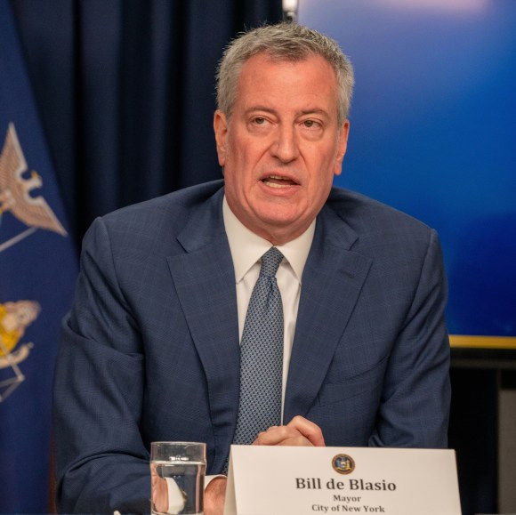 Mayor de Blasio was urged to step down by protesters on Saturday