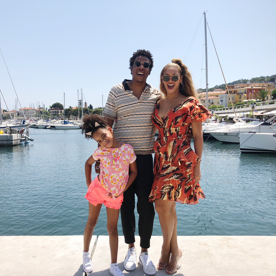 Jay and Beyoncé with daughter Blue Ivy, 8
