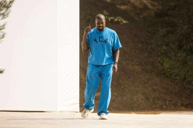 Kanye sported clothing that repped his Christian Academy