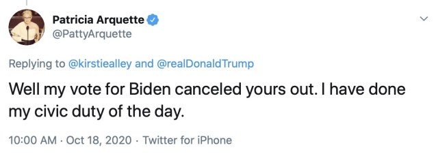 'My vote for Biden canceled yours out,' Patricia wrote