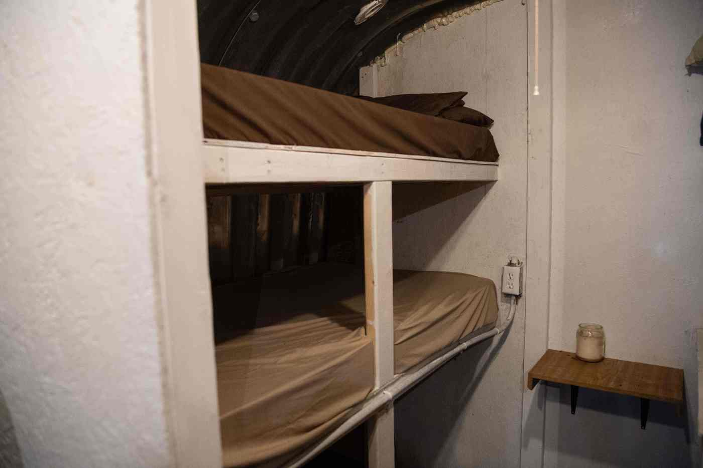 Bunk beds are seen inside a bunker at the Fortitude Ranch