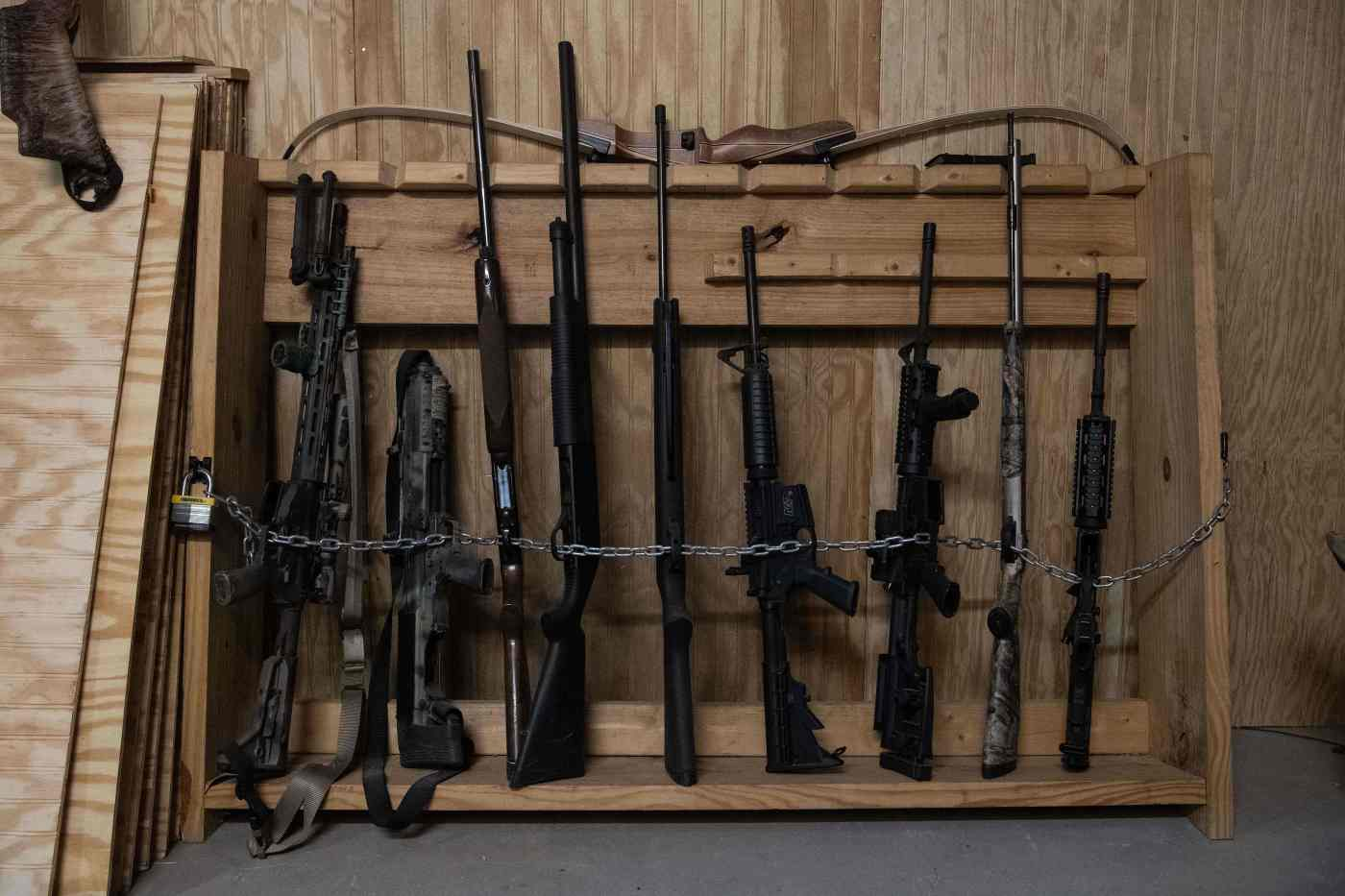 Guns are seen inside a lodging at the Fortitude Ranch in Mathias, West Virginia