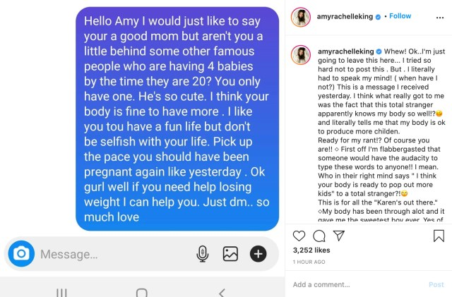 Amy shared the message from the fan