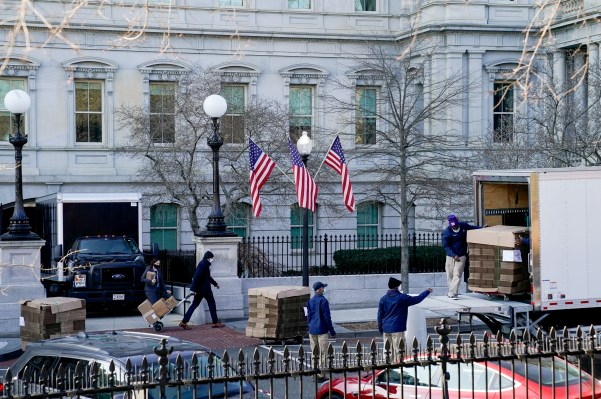 At least three pallets of boxes stacked several feet high were seen at 1600 Pennsylvania Ave