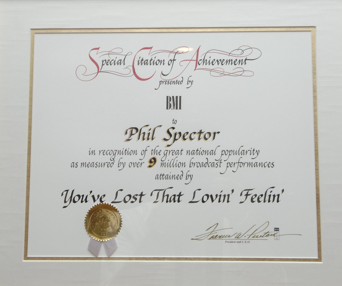 Certificate awarded to Phil Spector