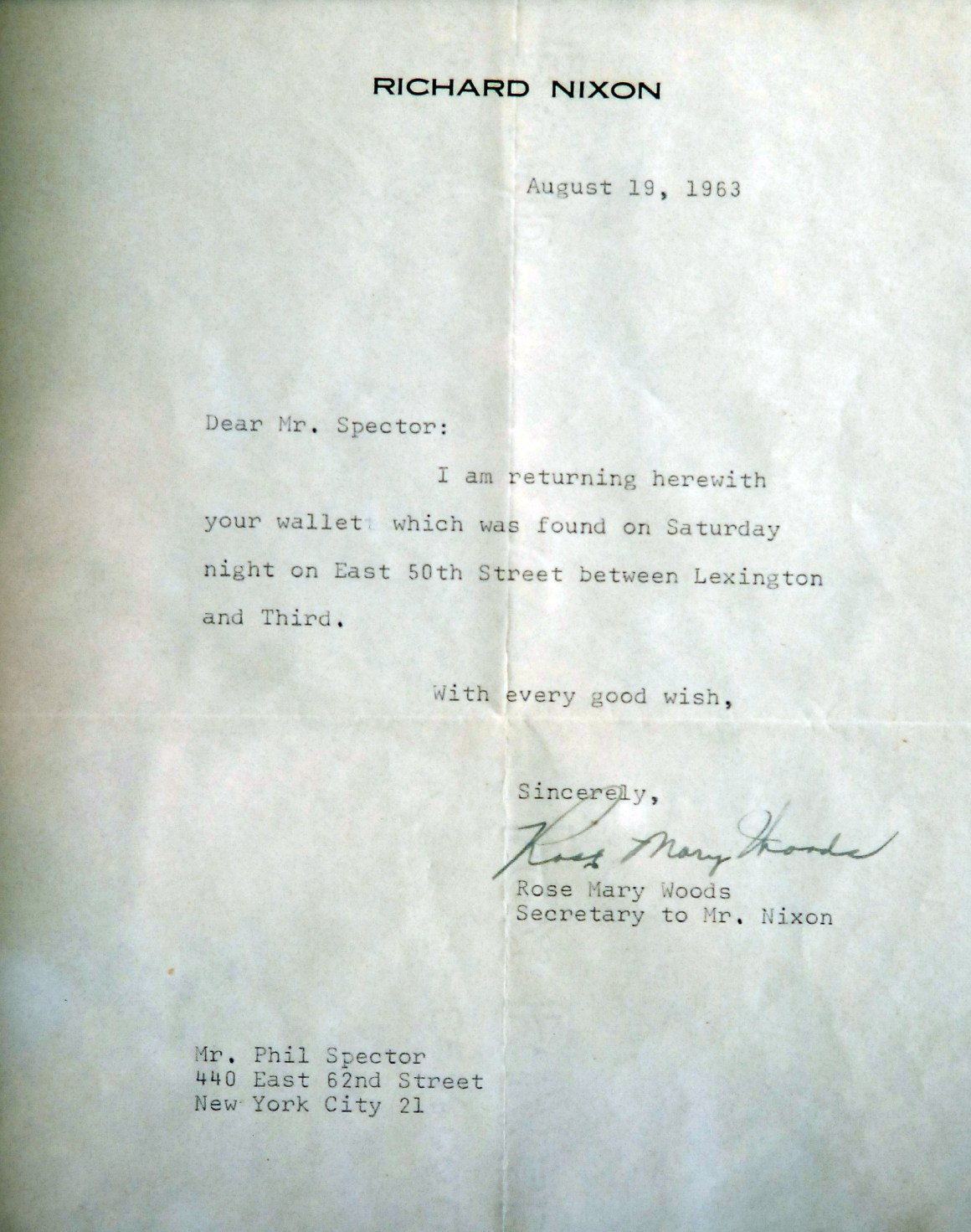 A letter from Richard Nixon to Spector, 1963