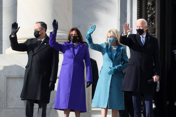 Joe Biden and Kamala Harris arrive at the Capitol this morning