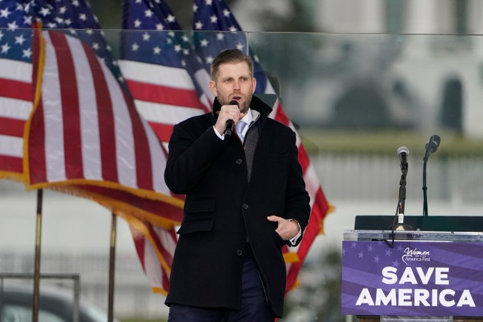 Eric Trump speaks in Washington, at a rally in support of his father, former President Donald Trump