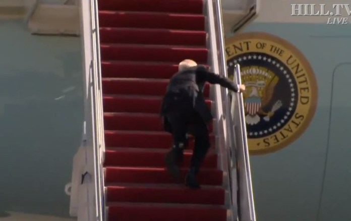 President Biden's health has been called into question after he was seen falling on the stairs of Air Force One before flying to Georgia