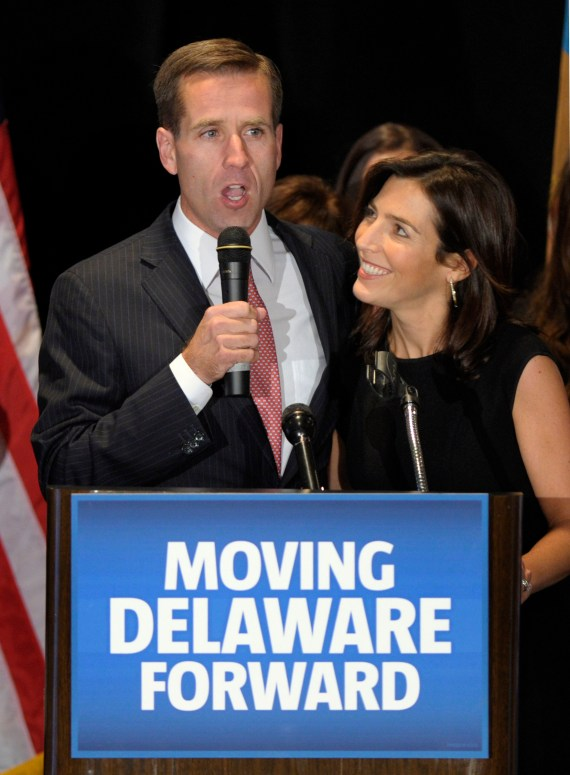 Hallie was married to Beau Biden until his death from cancer in 2015 (pictured together)