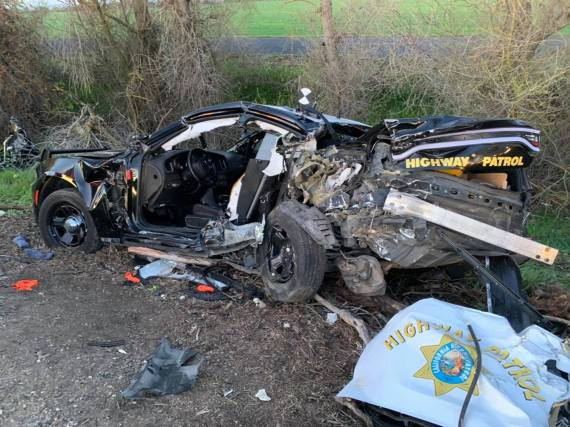 The two officers involved in the crash were taken to hospital suffering major injuries