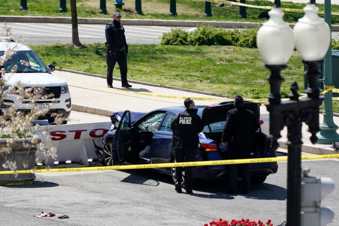 Capitol police said a car rammed into two cops and both officers were rushed to hospital