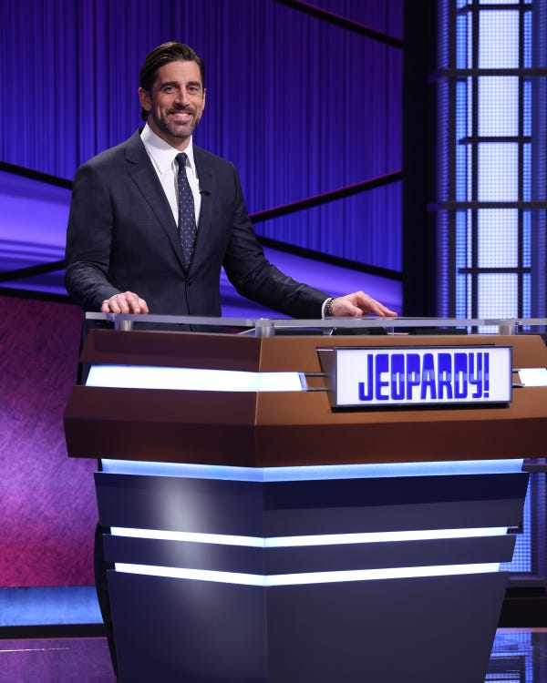 Game show fans have received a first look at Aaron Rodgers behind the Jeopardy! podium