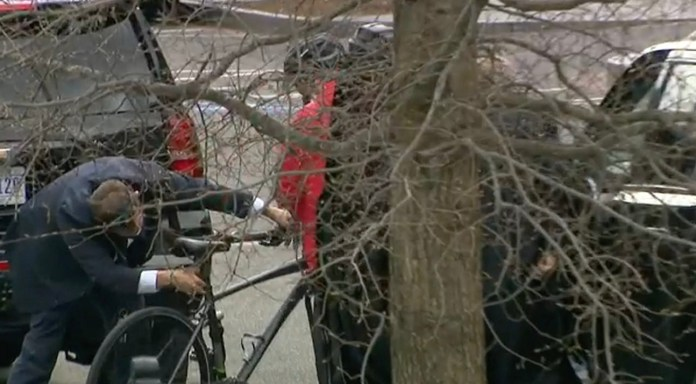 Video emerged showing Pete Buttigieg's security detail setting up his bike for him