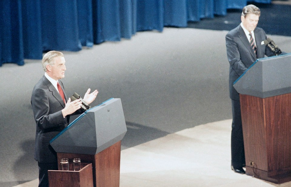 Mondale debates Ronald Reagan in 1984