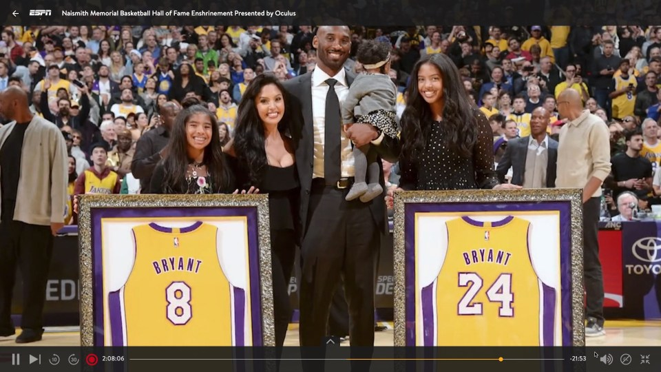 Kobe Bryant's Laker jersey numbers 8 and 24 were both retired