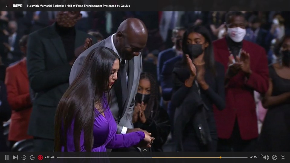 The emotional speech had Vanessa Bryant speaking about how he played through pain and injury just like Michael Jordan did