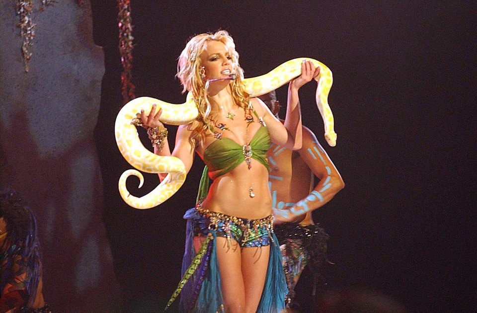 She shocked fans with the snake during the 2001 performance