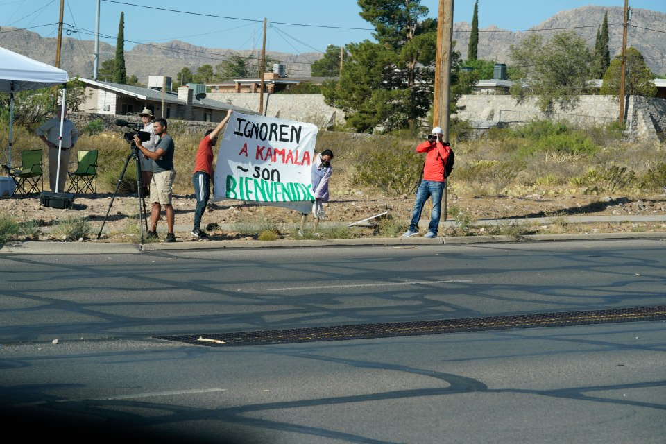 More protesters are seen gathered outside of the El Paso facility