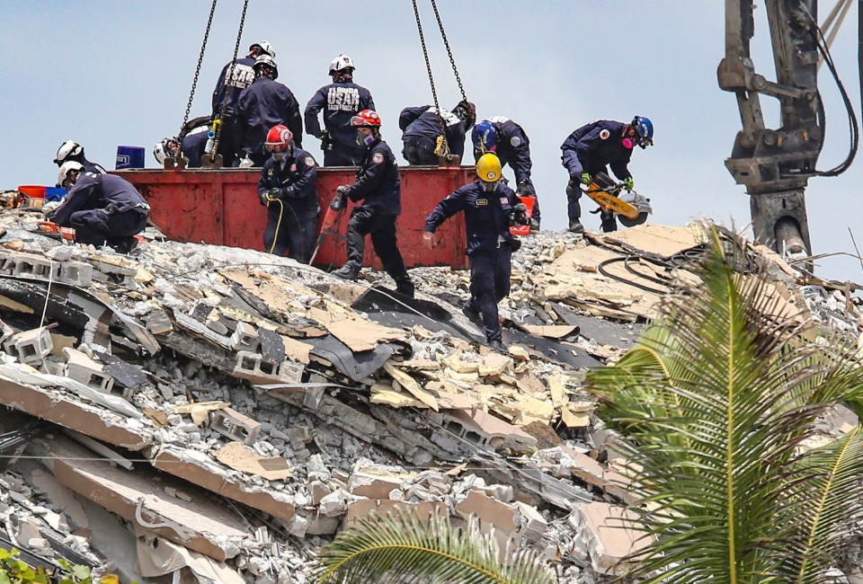 Hundreds are believed to have become trapped under the rubble of the 12-story building in Miami