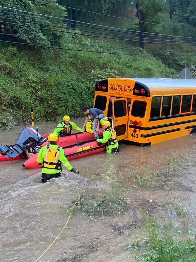 Crews rescue students from a stranded school bus
