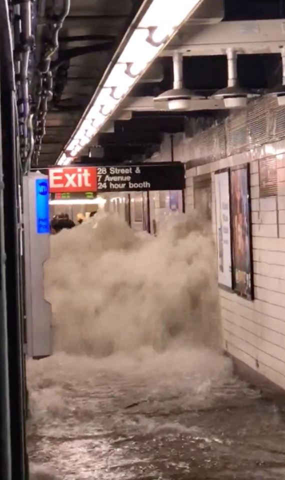 A subway station fills with water