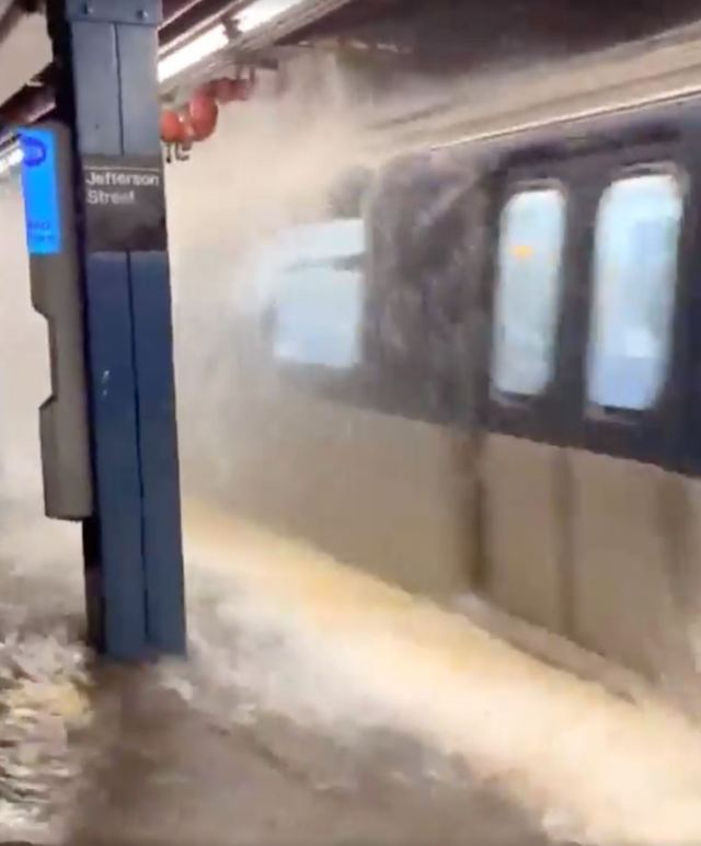 Floodwater crashed through the ceiling onto subway trains