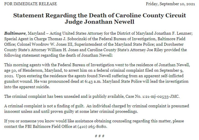 The US Attorney's Office released a statement