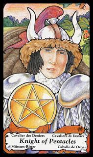 Betekenis van de tarotkaart Pentakels Ridder in het kaartleggen met de tarot op de website van de tarot lezer