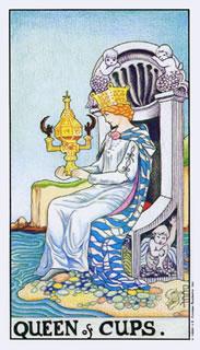 betekenis van de tarotkaart bekers koningin bij het kaartleggen met de Tarot