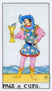 De betekenis van de tarotkaart bekers schildknaap bij het kaartleggen met de tarot