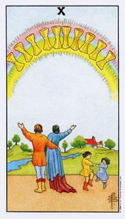De betekenis van de tarotkaart bekers tien in het kaartleggen met de Tarot.