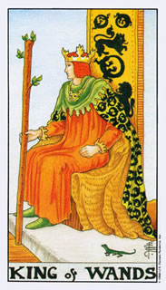 De betekenis van de staven koning bij het kaartleggen met de tarot.