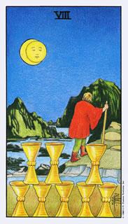 De betekenis van de tarotkaart bekers acht bij het kaartleggen met de Tarot.