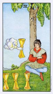 betekenis tarotkaart bekers vier bij het kaartleggen met de tarot