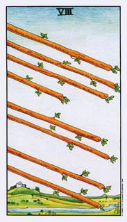 de betekenis van de tarotkaart staven acht
