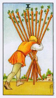 Betekenis van de tarotkaart staven tien bij het kaartleggen met de tarot